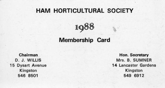 Ham Horticultural Membership Card 1988