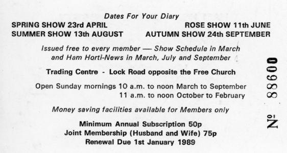 Ham Horticultural Membership Card Reverse 1988
