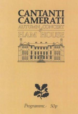 Ham House Cantani Camerati Programme Cover 1975