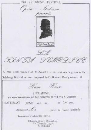 Ham House Mozart Opera Programme 1981