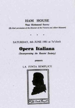 Ham House Mozart Opera Programme 2 1981