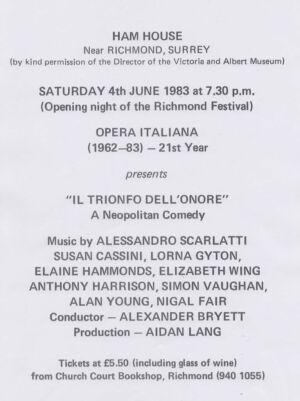 Ham House Opera Italiana Programme 1983
