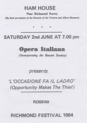 Ham House Opera Italiana Programme 1984
