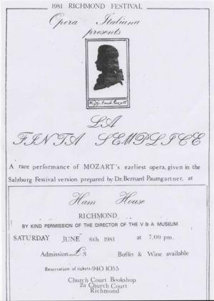Ham House Opera Programme 1981