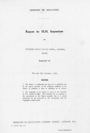 Oakfield School Report 1 1956