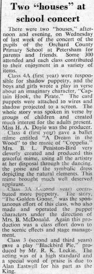 Orchard School Newspaper report School Concert 1