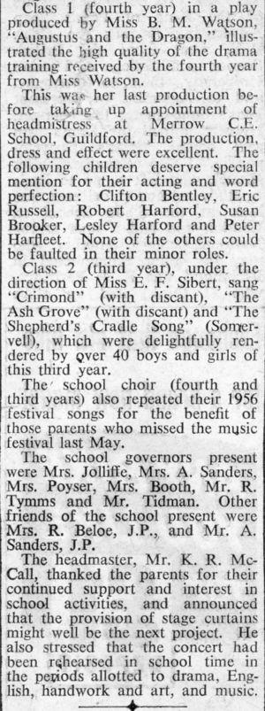 Orchard School Newspaper report School Concert 2